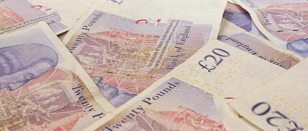 Die London Währung ist das Pfund Sterling mit Scheinen und